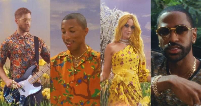 "Calvin Harris lança clipe de ""Feels"", com Katy Perry, Pharrell Williams e Big Sean"