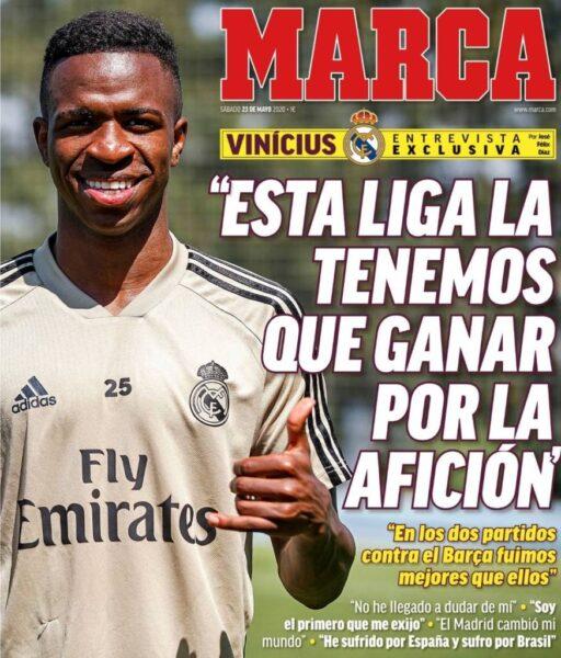 Vinicius Junior projeta título do Espanhol e vira capa de jornal europeu