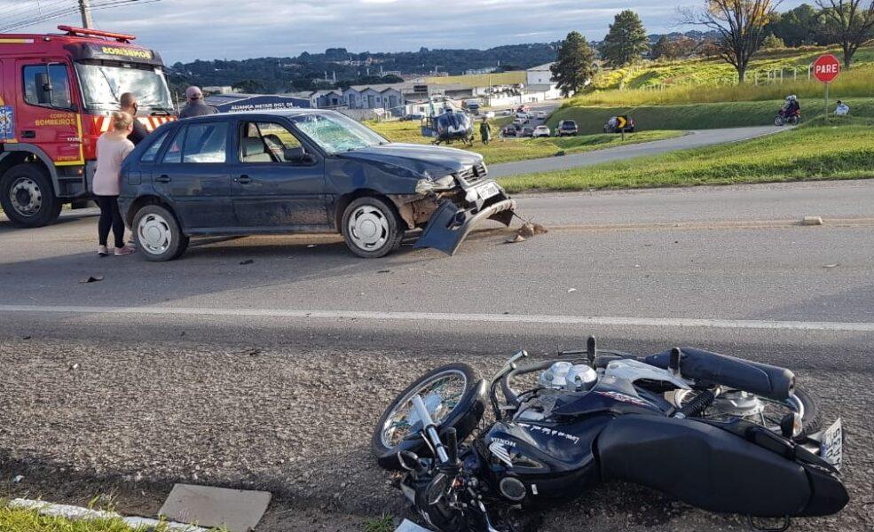 Motociclista fica gravemente ferido em acidente na Rodovia da Uva