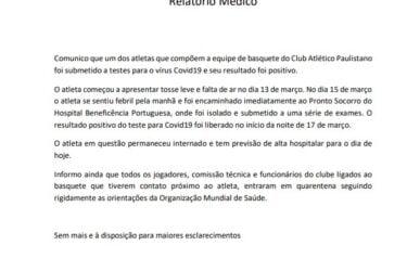 Pivô do Paulistano testa positivo e basquete brasileiro tem primeiro caso de coronavírus