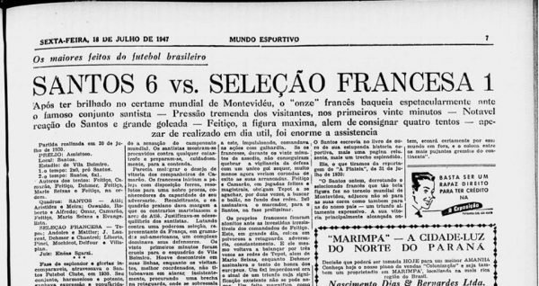 Você sabia? Santos já goleou a seleção da França