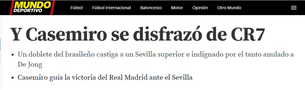 "Jornal espanhol exalta Casemiro: ""Se disfarçou de Cristiano Ronaldo"""