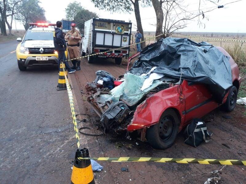 Pai morre e filho recém-nascido fica ferido em acidente na PR-182