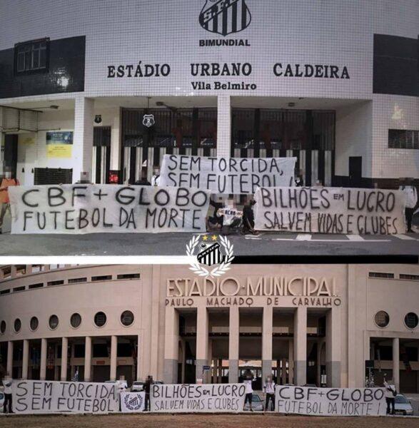 Movimento santista protesta na porta da Vila e do Pacaembu contra volta do futebol