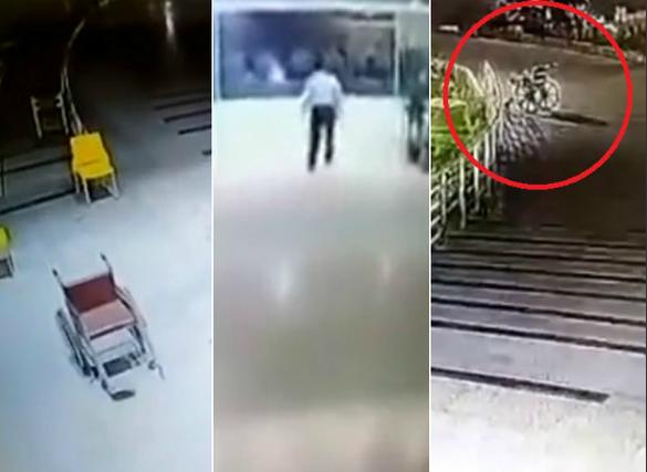 Assustador: cadeira de rodas anda sozinha por hospital; assista!