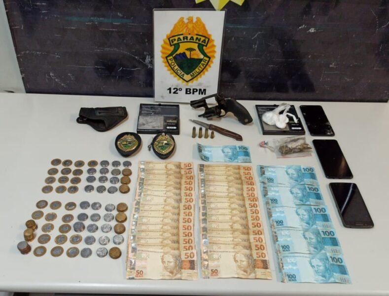 Abordagem policial no Mossunguê resulta em apreensão de arma, drogas e dinheiro