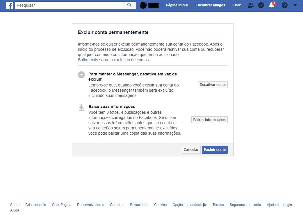 desativar facebook passo 1