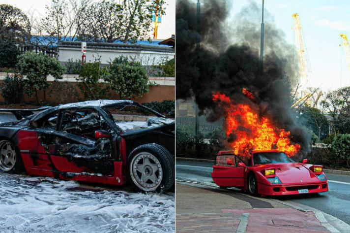 Ferrari avaliada em R$ 5,6 milhões pega fogo no meio da rua