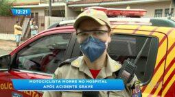 Motociclista morre no hospital após acidente grave