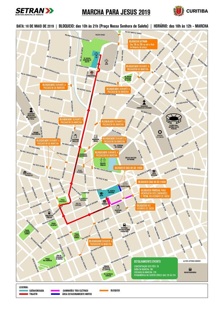 Mapa dos bloqueios nas ruas de Curitiba para a Marcha para Jesus.
