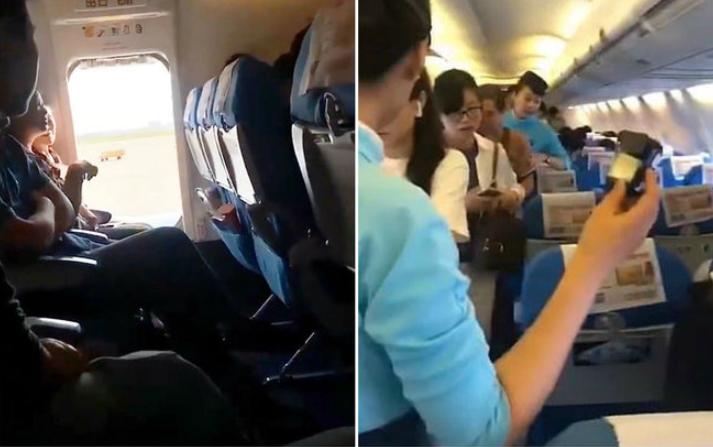 """Mulher abre porta de emergência de avião e acaba presa: """"muito abafado"""""""