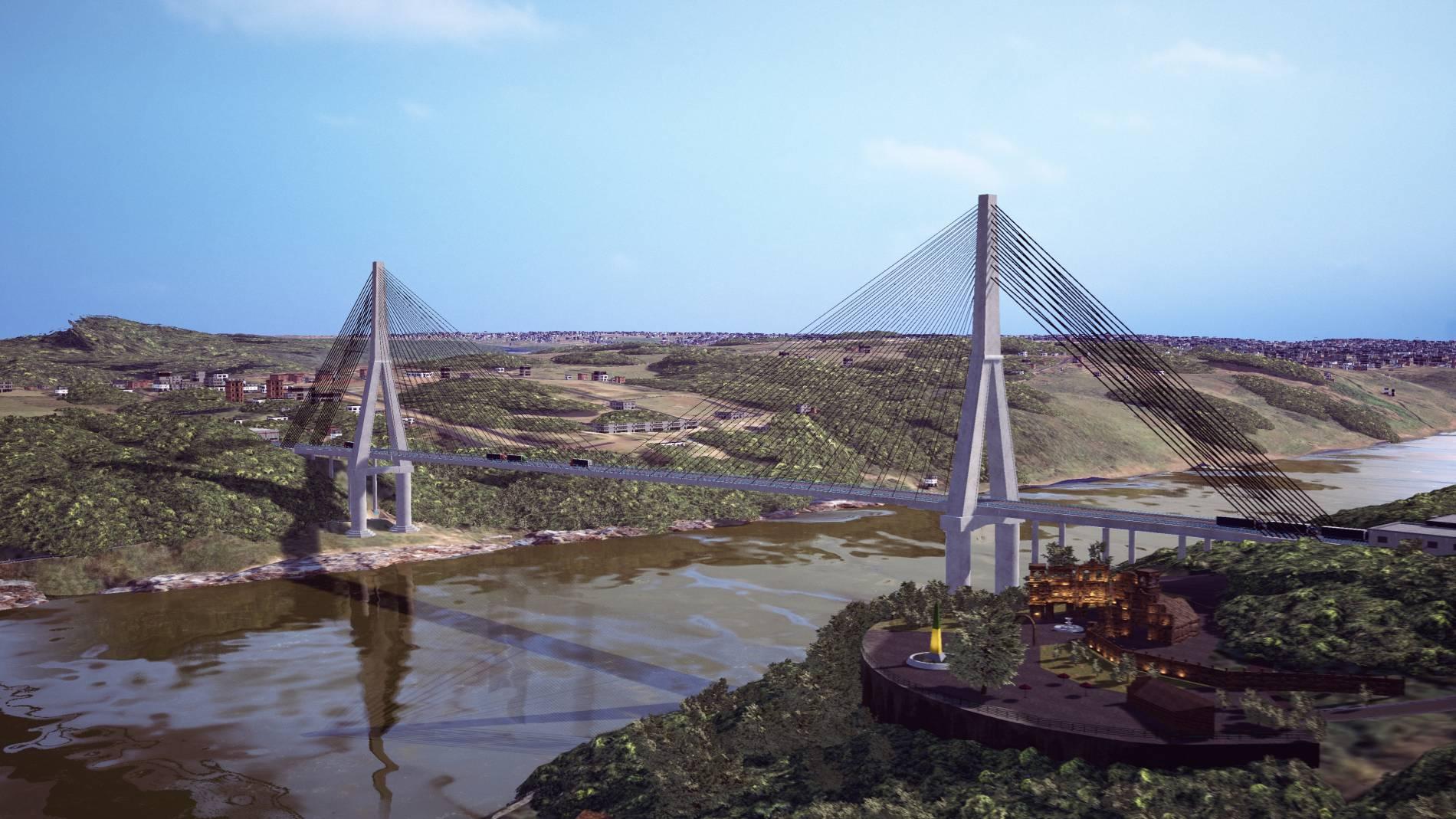 Projeção da nova ponte entre Brasil e Paraguai (FOTO: DIVULGAÇÃO)