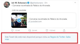 Twitter apaga posts de Bolsonaro sobre isolamento e cloroquina por violar termos de uso da rede social