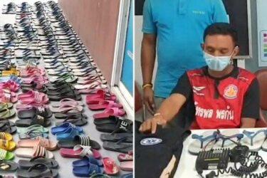 Rapaz é preso com 126 pares de chinelos roubados e diz que tem fetiche