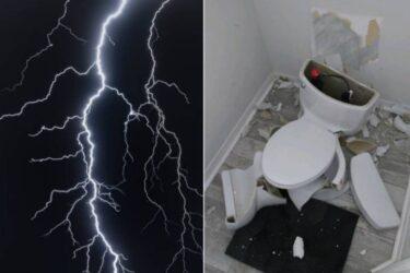 Privada explode após raio atingir fossa de casa e destruir tubulações