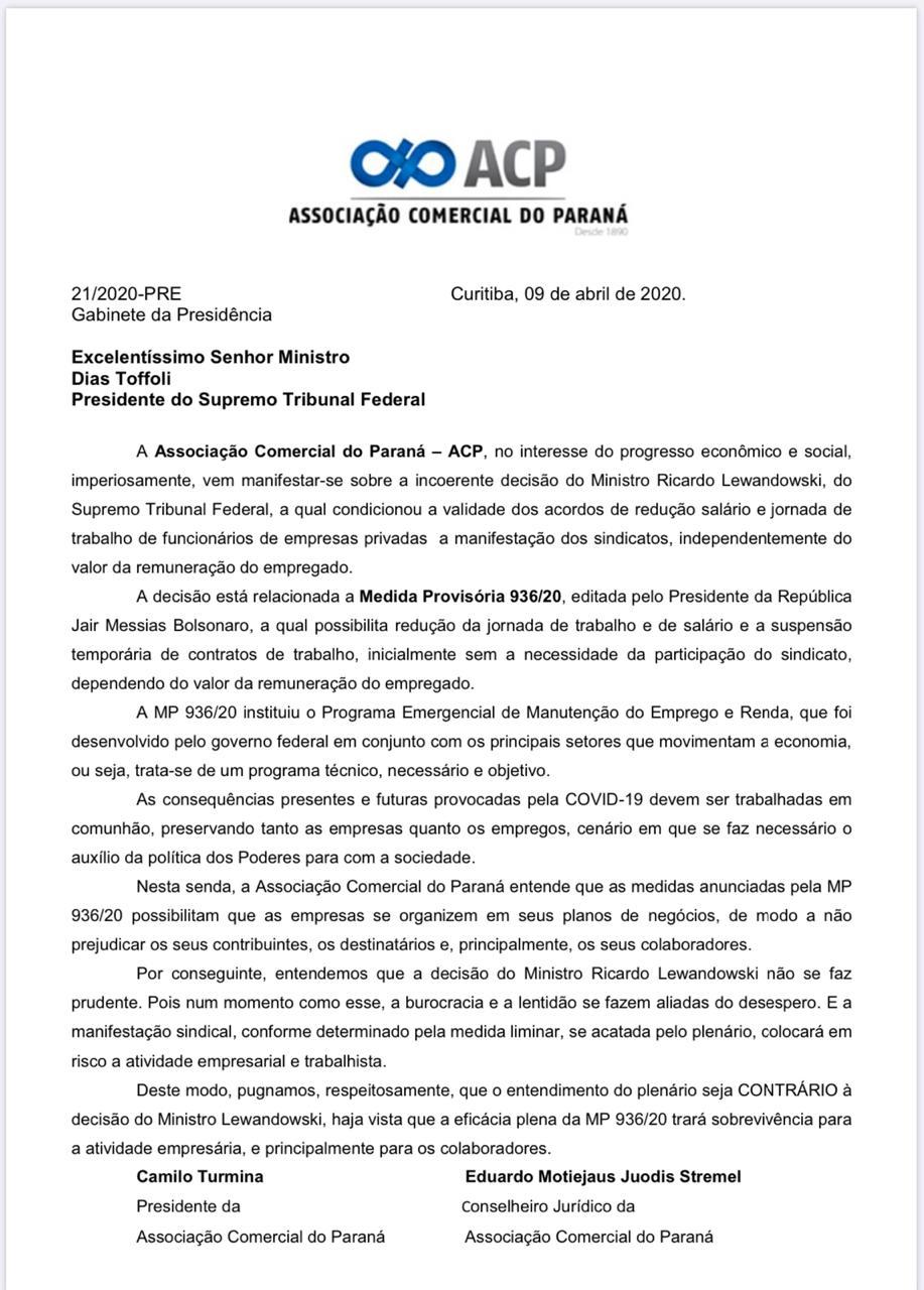 O documento assinado pelo presidente, Camilo Turmina , e pelo conselheiro jurídico, Eduardo Stremel