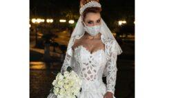 Estilistas curitibano lança coleção de vestidos de noiva com máscaras de proteção