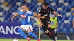 Em confronto direto por vaga nas ligas europeias, Napoli e Milan ficam no empate