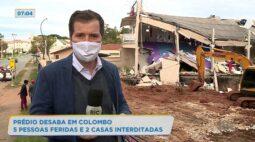 Prédio desaba em Colombo 5 pessoas feridas e 2 casas interditadas