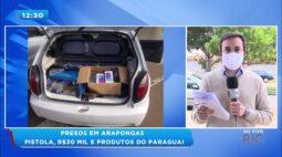 Presos em Arapongas: pistola, R$ 30 mil e produtos do Paraguai