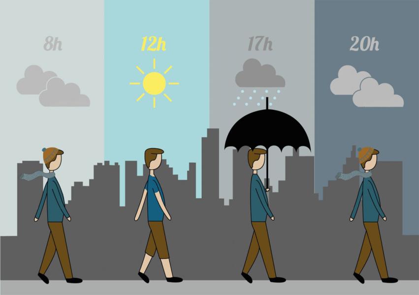Ilustração do clima em Curitiba
