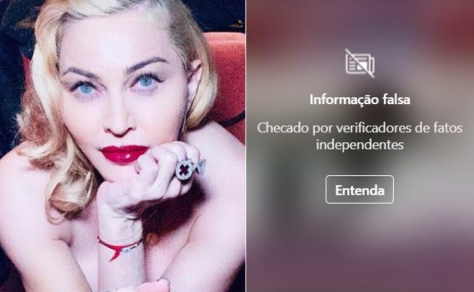 Instagram oculta postagem de Madonna por conter informação falsa
