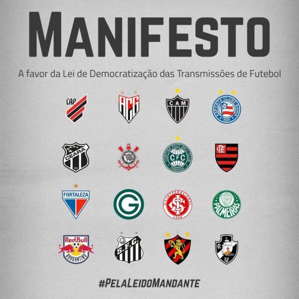Dezesseis clubes da Série A assinam manifesto apoiando MP dos direitos de transmissão