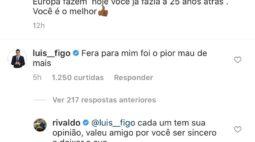 """Figo alfineta Luxemburgo em postagem de Rivaldo: """"Para mim foi o pior"""""""