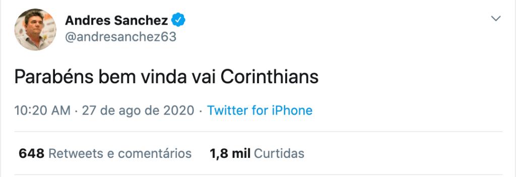 Andrés Sanchez faz postagem enigmática e agita torcida do Corinthians nas redes sociais