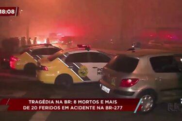 Tragédia na BR-277 deixa oito mortos e mais de 20 feridos em acidente