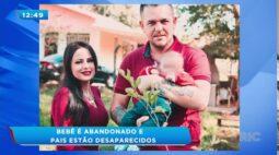 Bebê é abandonado e pais estão desaparecidos; carro da família foi incendiado