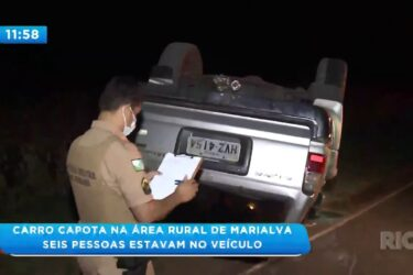 Carro capota na área rural de Marialva: Seis pessoas estavam no veículo