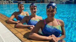 Dueto brasileiro de nado artístico retorna aos treinamentos no Brasil