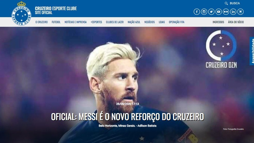 Site do Cruzeiro anuncia contratação de Messi; Plataforma foi invadida