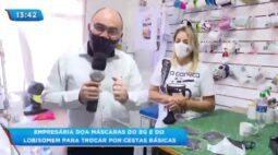 Empresária doa máscaras do BG e do lobisomem para trocar por cestas básicas