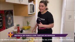 Aprenda a fazer bisteca de porco com tartar de banana
