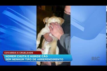 Homem é flagrado agredindo cachorro no bairro Uberaba