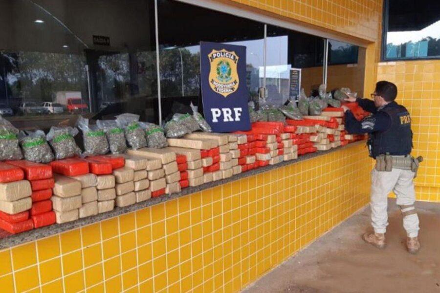 PRF apreende 200kg de maconha após perseguição em Francisco Alves