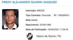 Rescisão de contrato de Guarín com o Vasco é publicada no BID