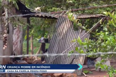 Criança morre em incêndio, a casa da família pegou fogo