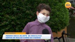 Menino deixa bilhete de desculpas depois de riscar carro do vizinho