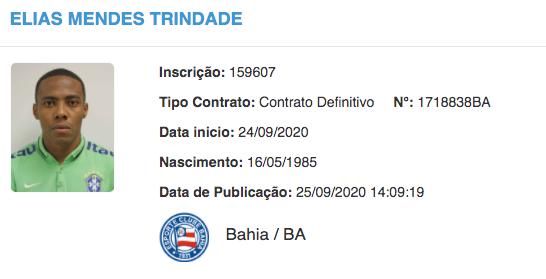 Elias é registrado no BID e fica à disposição do Bahia para o duelo contra o Athletico-PR