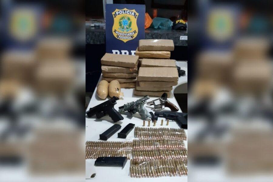 PRF apreende armas, munições e drogas que seriam levadas para Maringá, na BR-487