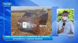 Fuga, capotamento e apreensão de cigarros em Marechal Cândido Rondon