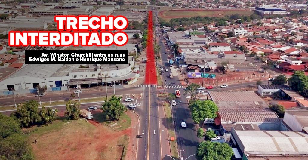 Trecho da Winston Churchill em Londrina é bloqueado a partir de segunda-feira (14)