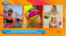Bruna Marquezine aparece de cabelo loiro e biquíni caríssimo