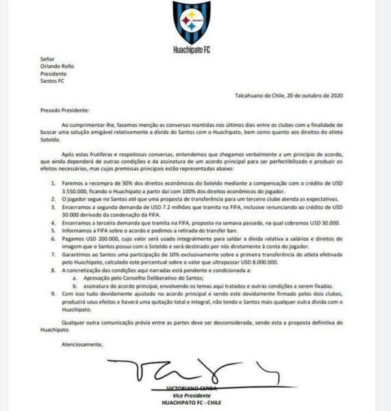 Conselho do Santos aprova negociação com o Huachipato por Soteldo