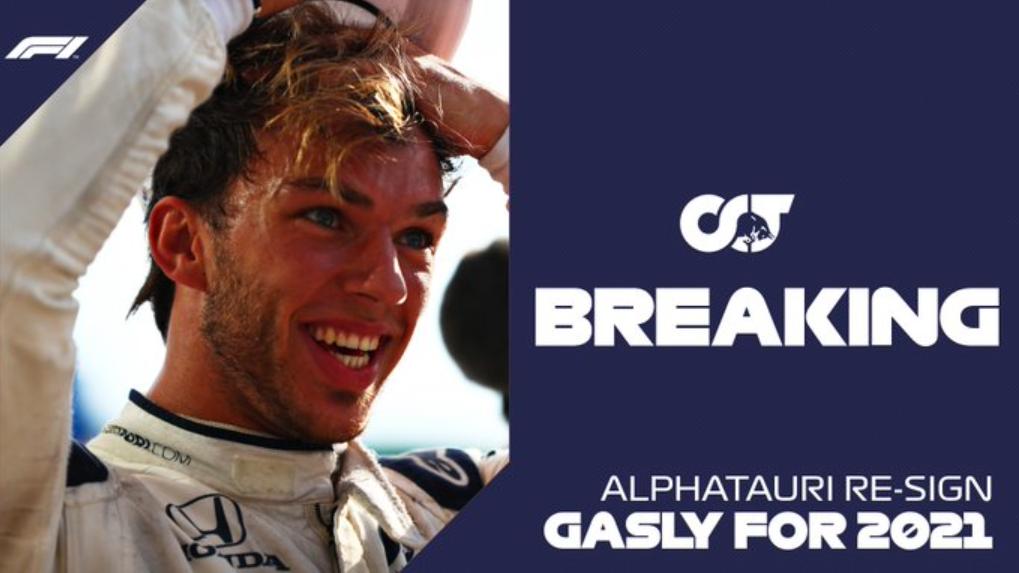 AlphaTauri anuncia permanência de Pierre Gasly na escuderia em 2021