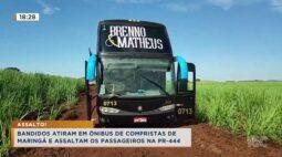 Bandidos atiram em ônibus de compristas de Maringá e assaltam os passageiros na PR 444