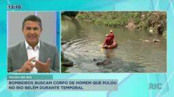 Bombeiros buscam pelo corpo do homem que pulou no Rio Belém durante temporal